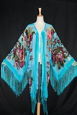 Classic Turquoise Eastern Flower Burnout Velvet Fringe Jacket Coat Duster Kimono