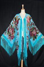 Classic Turquoise Eastern Flower Burnout Velvet Fringe Jacket Coat Duster Kimono