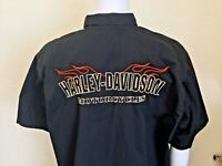 Harley Davidson Embroidered Logo camp Mechanic vented sleeve shirt Black 2XL xxl