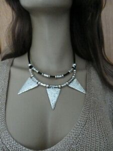 Unique  genuine leather Quirky spikes collar necklace Gift