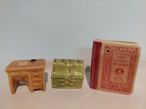 Miniature Arcadia Single Salt Or Pepper Shakers Treasure Chest And Desk And Book