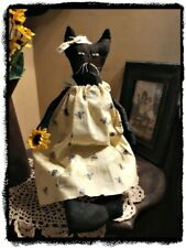 Primitive` Handmade` **Folk Art *Kitty Cat Doll` With` Bumble Bee Dress` 17""
