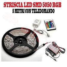STRISCIA LED RGB 5 METRI BOBINA SMD 5050 ALIMENTATORE E TELECOMANDO MULTICOLORE