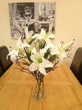 LARGE ARTIFICIAL FLOWER ARRANGEMENT IVORY LILIES & TWIGS IN GLASS VASE & WATER