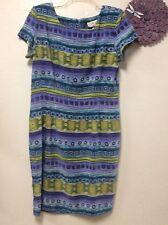 Ladies sheath dress size 16 J. STEVENS purple green square neck zips in back 49