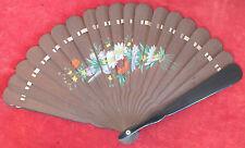éventail bois peint decor floral fan