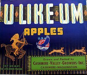 U LIKE UM Vintage Cashmere Apple Label  Original Fruit Crate Label Indian