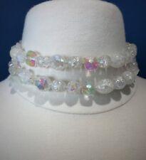 Vintage Multi-Strand Clear Crackle Quartz Aurora Borealis Beaded Choker Necklace