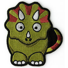 Embroidered Cute Horned Dinosaur Kids Sew or Iron on Patch