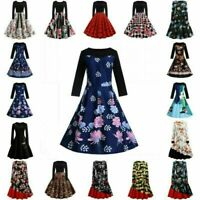 Women Floral Elegant Vintage Prom Ball Gown Party Dress Retro Swing Maxi Dress