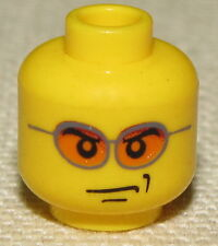 LEGO NEW MINIFGURE HEAD WITH ORANGE GLASSES AND SCOWL FACE