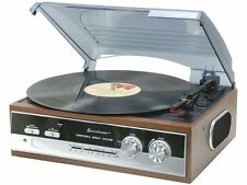 Turntable vinyl player Radio AM FM Retro Vintage stereo Soundmaster New Wood