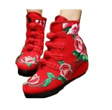 Women's Shoes Chinese Folk Embroidered Canva Wedge Casual Ankle Floral Boots B