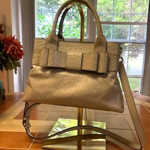 """KATE SPADE Light Gray Ostrich Leather CHARM CITY """"Provence"""" Bow Satchel XBody"""