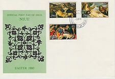 NIUE 1980 FIRST DAY COVER - PIETA PAINTINGS BY BELLINI, BOTTICELLI, & VAN DYCK