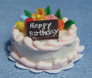 Dolls house Accessories  Pink Icing Birthday Cake