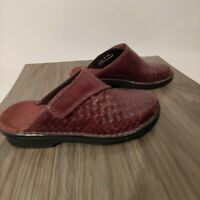 Clarks Rebecca Brown Leather Basket Weave Clogs Mules Womens Size 6M #34462