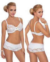 Ensemble lingerie blanc femme-sexy soutien-gorge soft shorty dentelle ROZA SISI