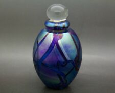 "EICKHOLT Iridescent Pulled Feather Art Glass Elegant Perfume Bottle,Apr 4""Hx2""W"