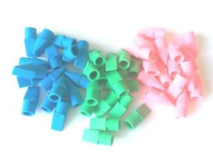 PENCIL TOP ERASERS PINK BLUE GREEN MULTICOLOURED ERASERS FIT ANY STANDARD PENCIL