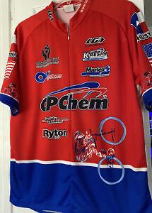Louis Garneau Cycling Jersey Full Zip Sz XL Red Multicolor Houston,TX  3 Pockets