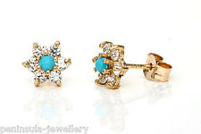 9ct Gold Turquoise and CZ Cluster studs Earrings Gift Boxed Made in UK