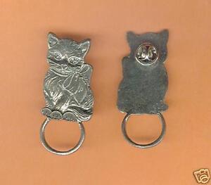 4 wholesale pewter cat eyeglass holder pins E5125