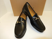 Cole Haan Ascot II Black Leather Men's Loafers With Gold Bit -New