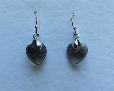 SMALL HEART DROP EARRINGS FACETED SMOKY GREY GLASS SILVER PLATED FITTINGS