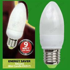 4x 9W Low Energy Power Saving CFL Candle Light Bulbs, ES, Screw E27 Lamps