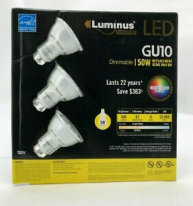 Luminus GU10 LED Lights | 3 Pack | Dimmable | 25,000 Hours of Life | 400 Lumens