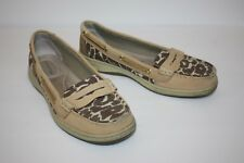 Womens SPERRY TOP SIDER - ANGELFISH Animal Print Boat Shoes - Size US 8.5 M Gold