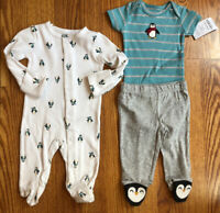 Carter's 3 pc Boys Penguin Footed Sleeper Bodysuit and Pants Size Newborn or 3 M