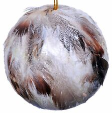 Feather Ball Ornament Natural Rustic Decor Wedding Christmas Holiday Tree 175z