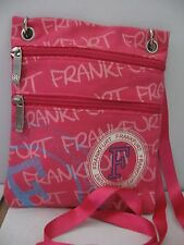 Robin Ruth pink FRANKFURT double zip crossbody ribbon shoulder strap EUC