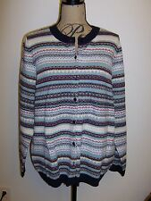 TALBOTS Diomond Ombre Charming Cardigan Sweater Wool Blend NWT Multi  1X