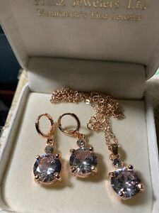 REDUCED  3ct. WHITE SAPPHIRE Pendant & Stud Earrings Set In Rose Gold