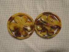 Boucle de ceinture ancienne d'époque Art Déco en celluloïd imitation écaille