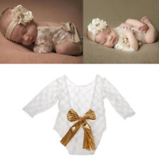 Newborn Baby Photography Prop Lace Romper with Big Bow Photo Shoot Outfit Gift