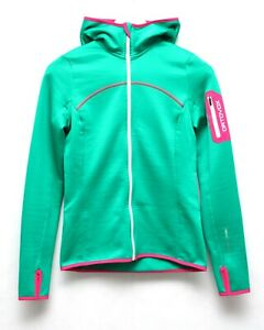 ORTOVOX Women's Hoodie Size XS Green Pink Merino Inside Wool Full Zip Light