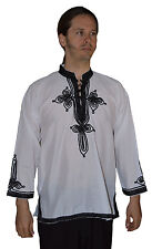 Ethnic Men V Neck Tunic Shirt Summer Cotton Moroccan Casual Fashion Medium