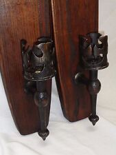 VTG WOOD METAL CANDLE HOLDER ANTIQUE WALL SCONCE MEDIEVAL EMPIRE SPANISH REVIVAL