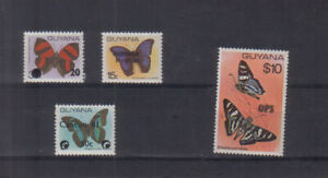 Guyana 1981 Butterflies Four Surcharges unmounted mint