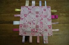 Handmade pink girls taggie comforter - squares, cats, spots, foot prints