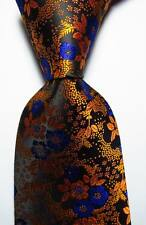 New Classic Floral Gold Black Blue JACQUARD WOVEN 100% Silk Men's Tie Necktie