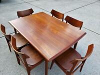 1960s Erik Buch mid-century modern (MCM) Danish teak dining set table 6 chairs