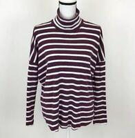 Aerie Dark Purple White Striped Turtleneck Shirt Top Size Small