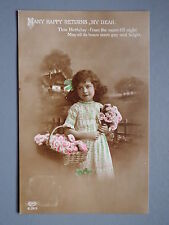 R&L Postcard: Birthday, Edwardian Girl, Flower Bouquet, Colour Tinted 1914