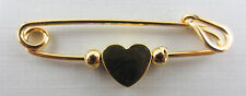 Gold Plated Rotating Heart Diaper Pin Design Brooch