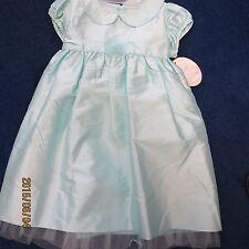 Will'beth girls dress size 24 mo. agua blue silk, new w/tags